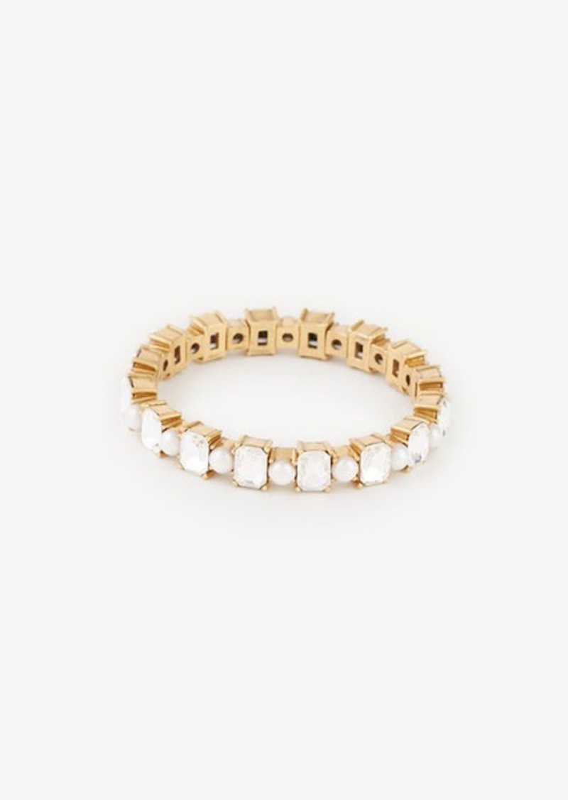 Ann Taylor Crystal Pearlized Stretch Bracelet