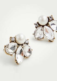 Ann Taylor Crystal Pearlized Stud Earrings