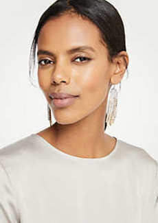Ann Taylor Crystal Tassel Statement Earrings