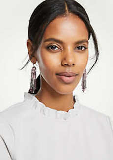 Ann Taylor Crystal Tassel Earrings