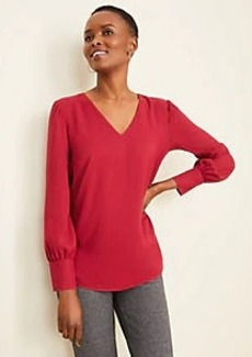 Ann Taylor Cuffed V-Neck Top
