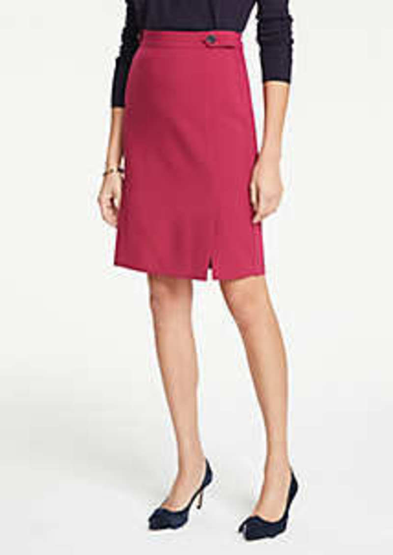 Ann Taylor Curvy Button Tab Seamed Pencil Skirt
