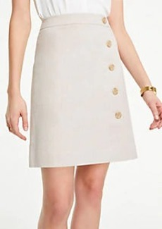 Ann Taylor Curvy Button Textured A-Line Skirt