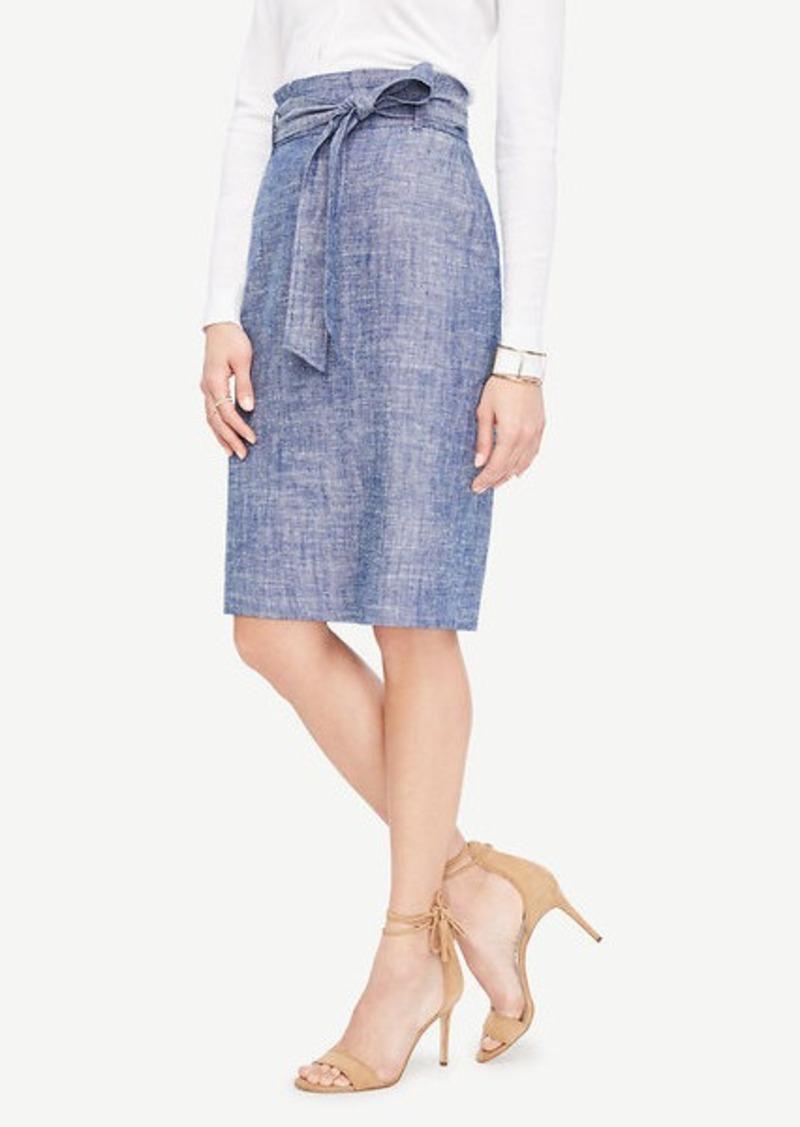 d12fdd66d0 Ann Taylor Curvy Chambray Paper Bag Pencil Skirt   Skirts