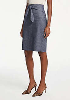 Ann Taylor Curvy Chambray Tie Waist Pencil Skirt