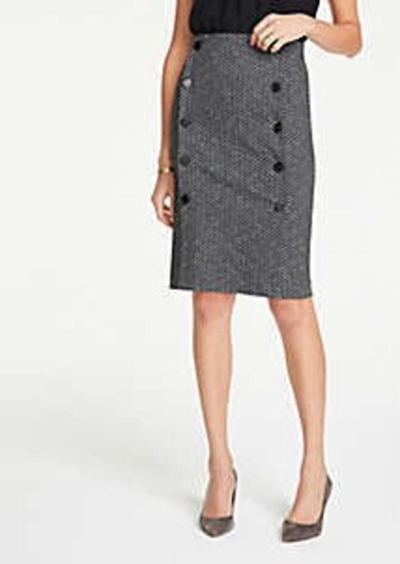 Ann Taylor Curvy Chevron Button Knit Pencil Skirt