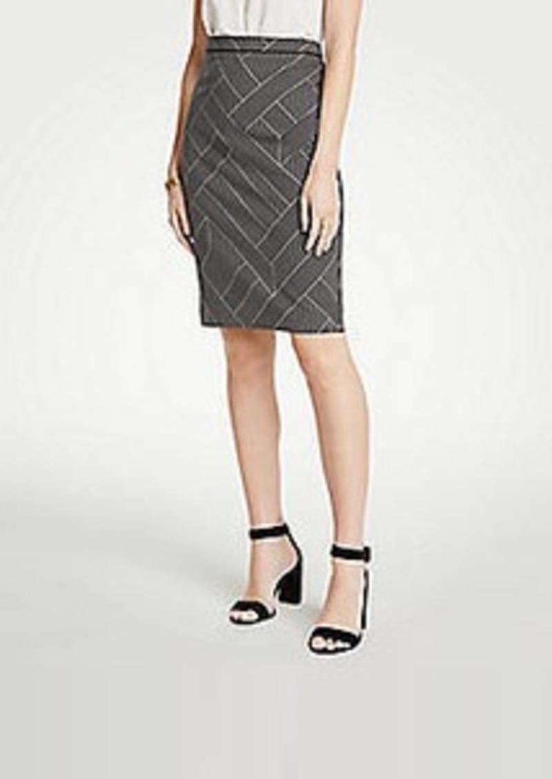 Ann Taylor Curvy Cross Stripe Pencil Skirt