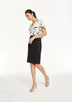 Ann Taylor Curvy Doubleweave Side Button Trim Pencil Skirt