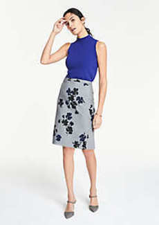 Ann Taylor Curvy Floral Flounce Back Pencil Skirt