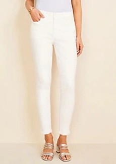 Ann Taylor Curvy Frayed Sculpting Pocket Skinny Crop Jeans in White