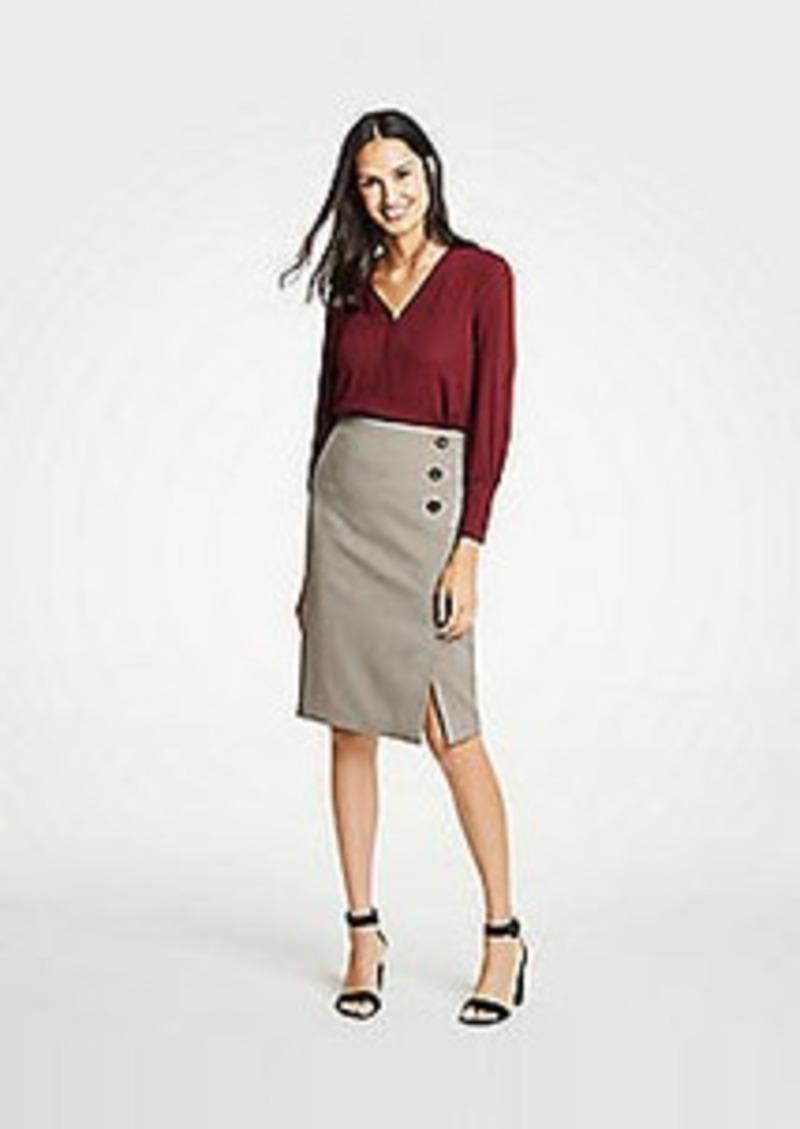 Ann Taylor Curvy Plaid Side Button Pencil Skirt