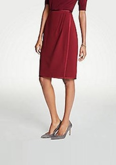 Ann Taylor Curvy Satin Trim Wrap Pencil Skirt