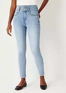 Ann Taylor Curvy Sculpting Pocket High Rise Skinny Jeans in Authentic Light Indigo Wash
