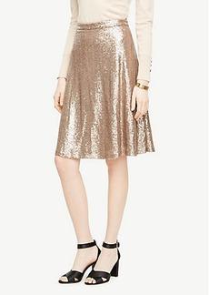 Ann Taylor Curvy Sequin Flare Skirt