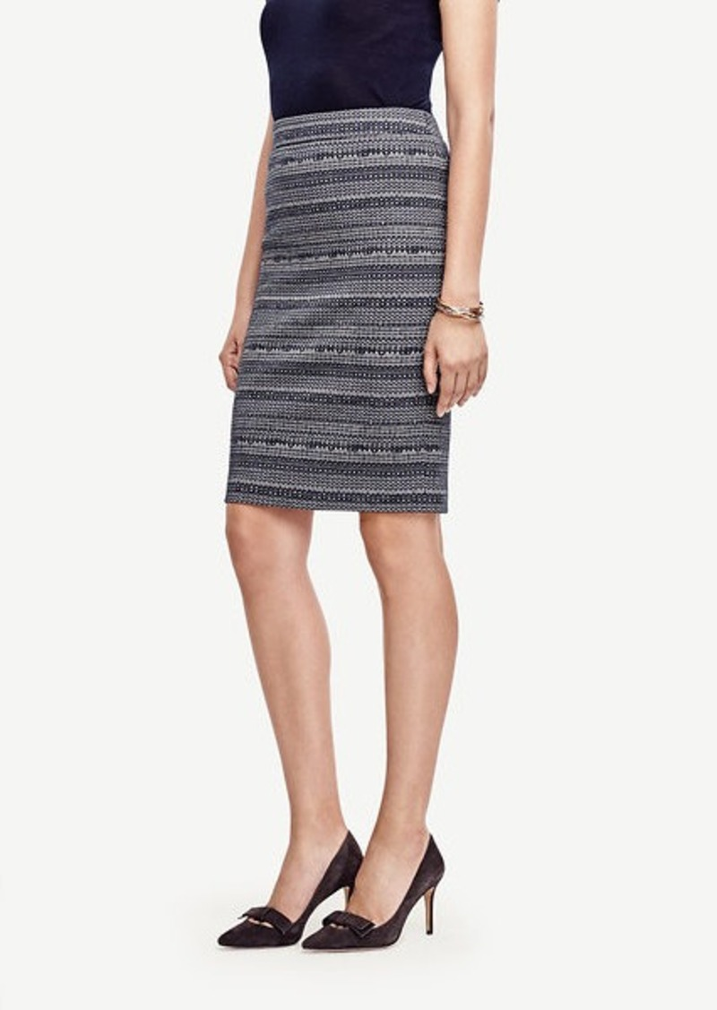 Ann Taylor Curvy Striped Tweed Pencil Skirt