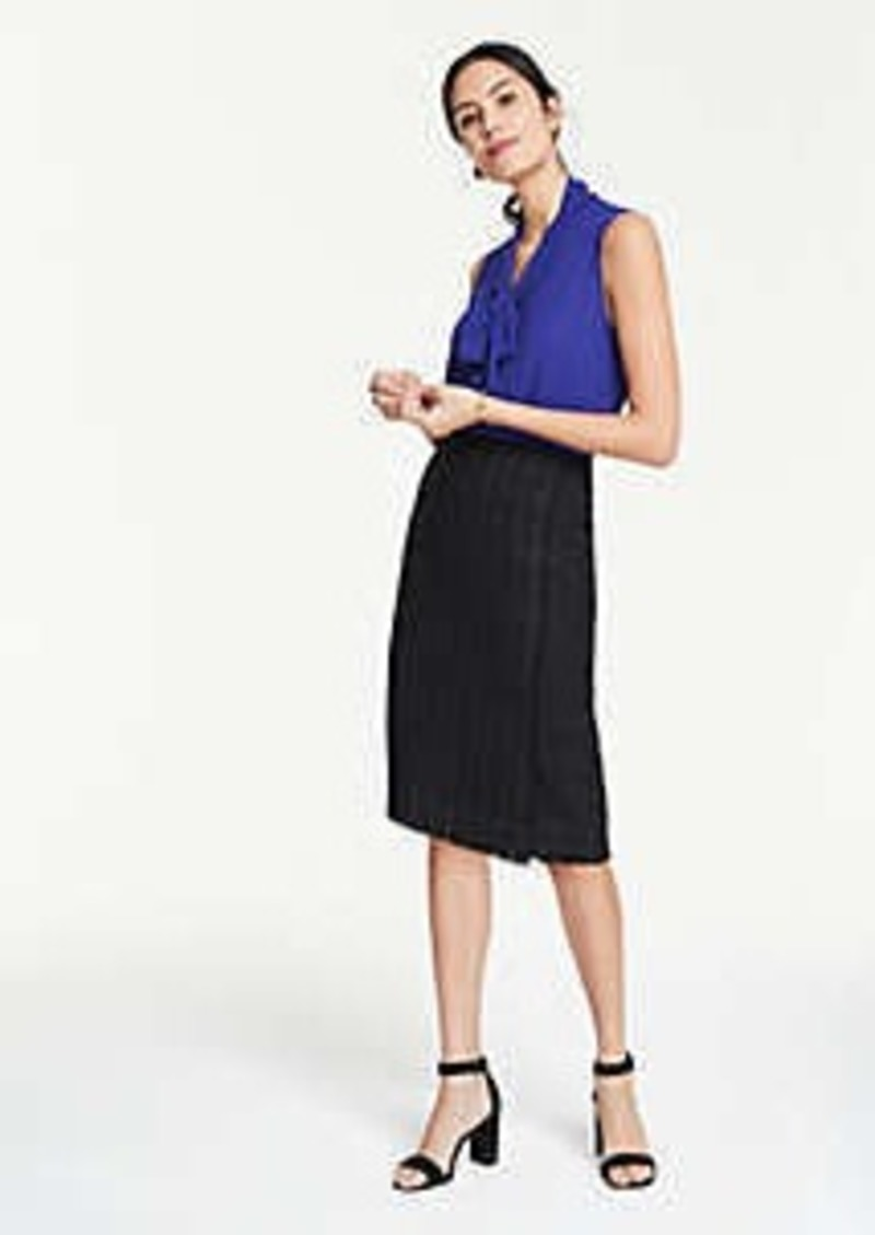 Ann Taylor Curvy Tweed Faux Wrap Pencil Skirt