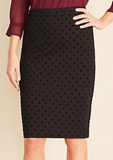 Ann Taylor Curvy Velvet Dot Pencil Skirt