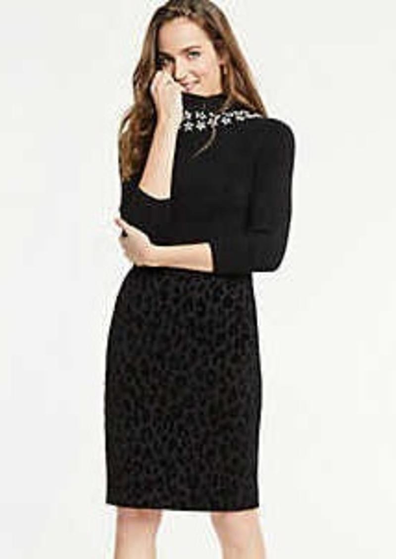 Ann Taylor Curvy Velvet Spotted Pencil Skirt