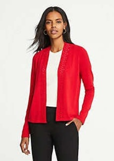 Ann Taylor Cutout Placket Open Cardigan