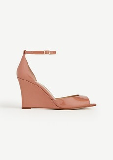 Ann Taylor Dagny Patent Leather Peeptoe Wedges