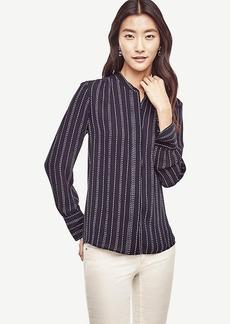 Dash Stripe Shirred Blouse