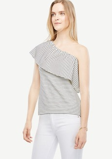 Deep Ruffle One Shoulder Striped Top