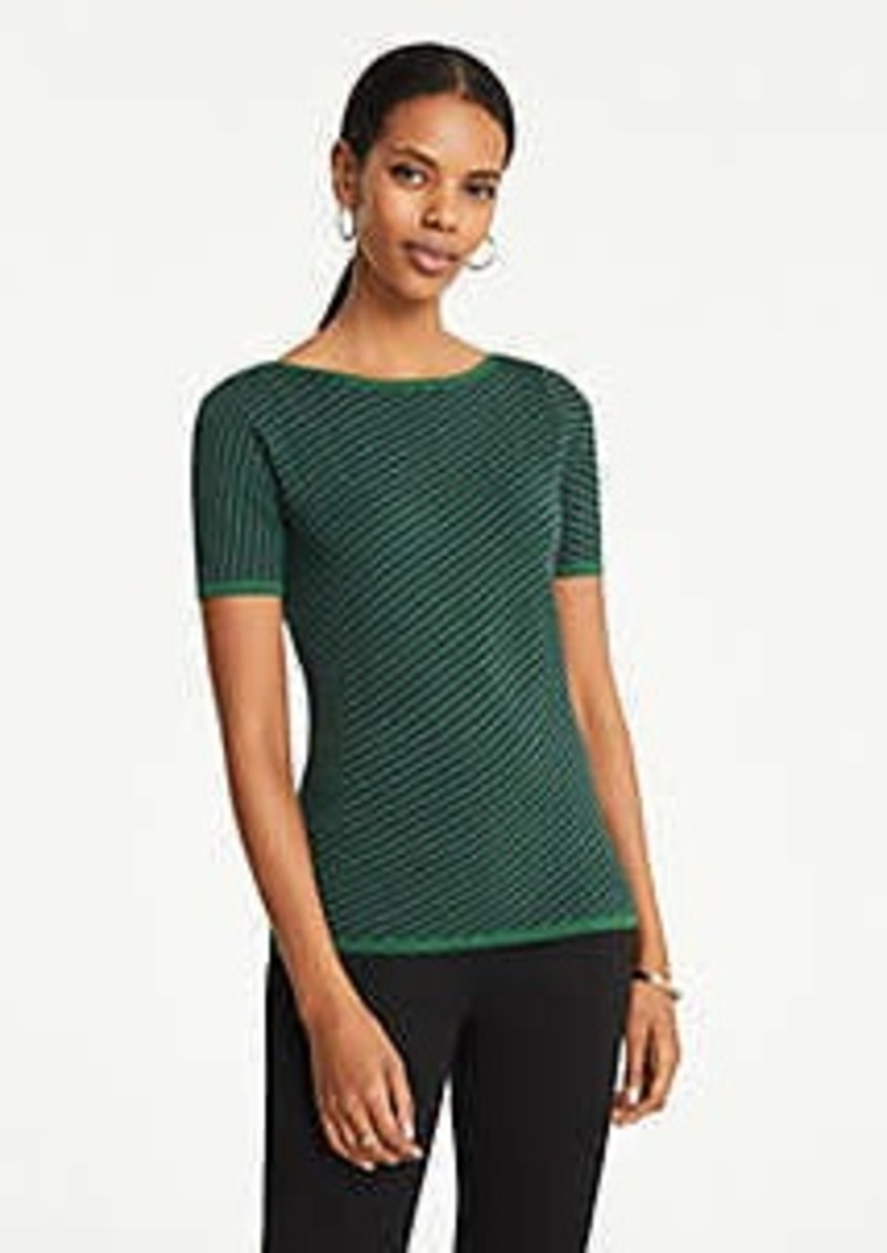 Ann Taylor Diagonal Striped Boatneck Sweater