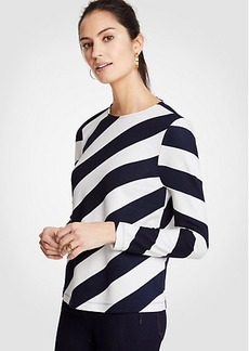 Ann Taylor Diagonal Stripe Tie Back Top