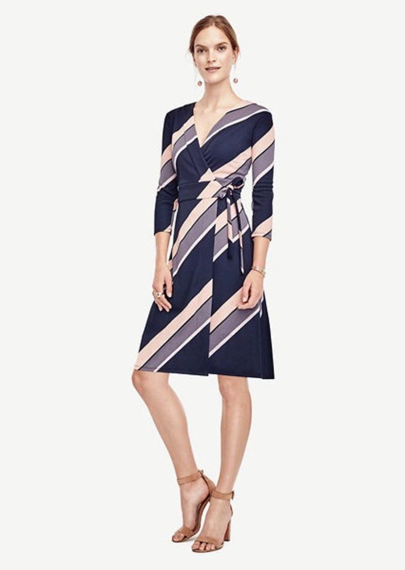 Ann Taylor Diagonal Stripe Wrap Dress