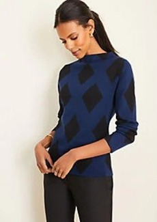 Ann Taylor Diamond Jacquard Mock Neck Sweater