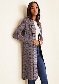 Ann Taylor Diamond Jacquard Seasonless Yarn Open Cardigan
