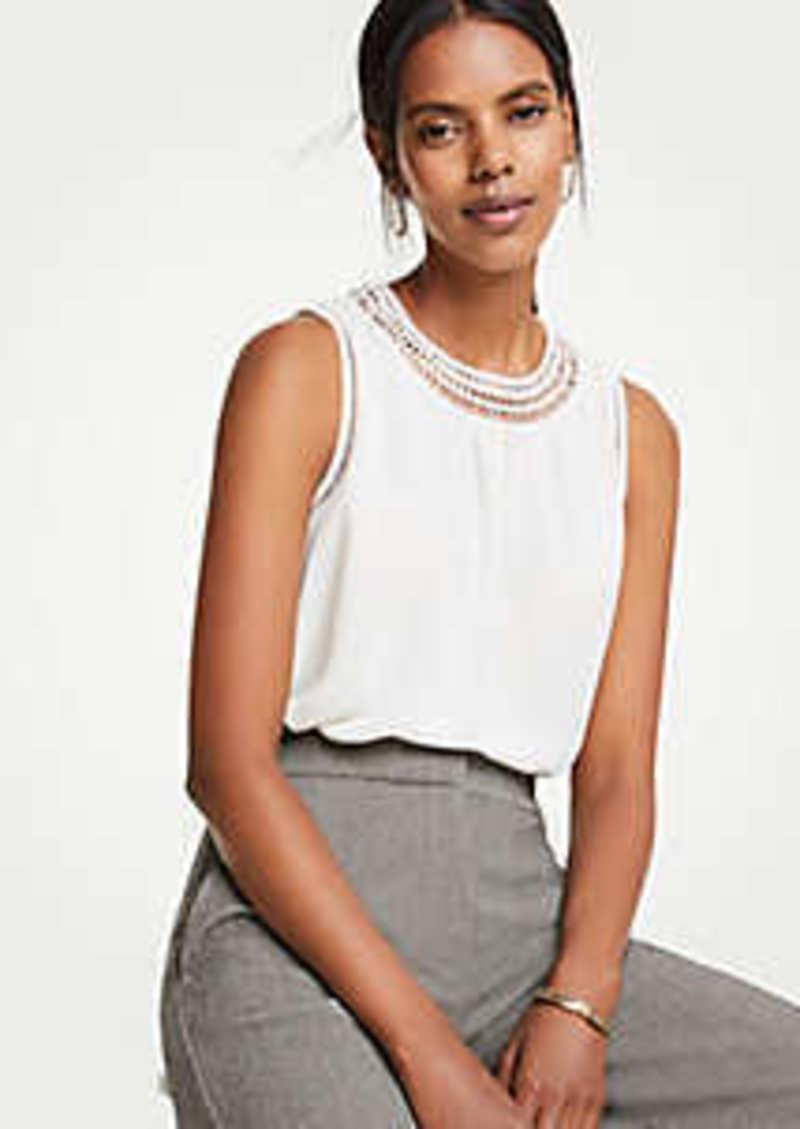 Ann Taylor Diamond Lace Inset Shell