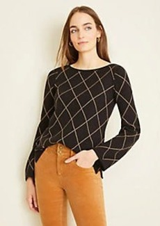 Ann Taylor Diamond Windowpane Boatneck Sweater