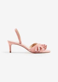 Ann Taylor Dinah Suede Ruffle Kitten Sandals