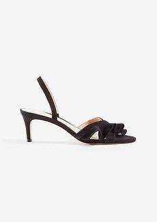 Dinah Suede Ruffle Kitten Sandals