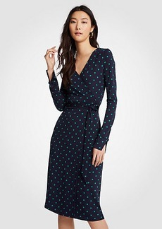 Dot Button Cuff Wrap Dress
