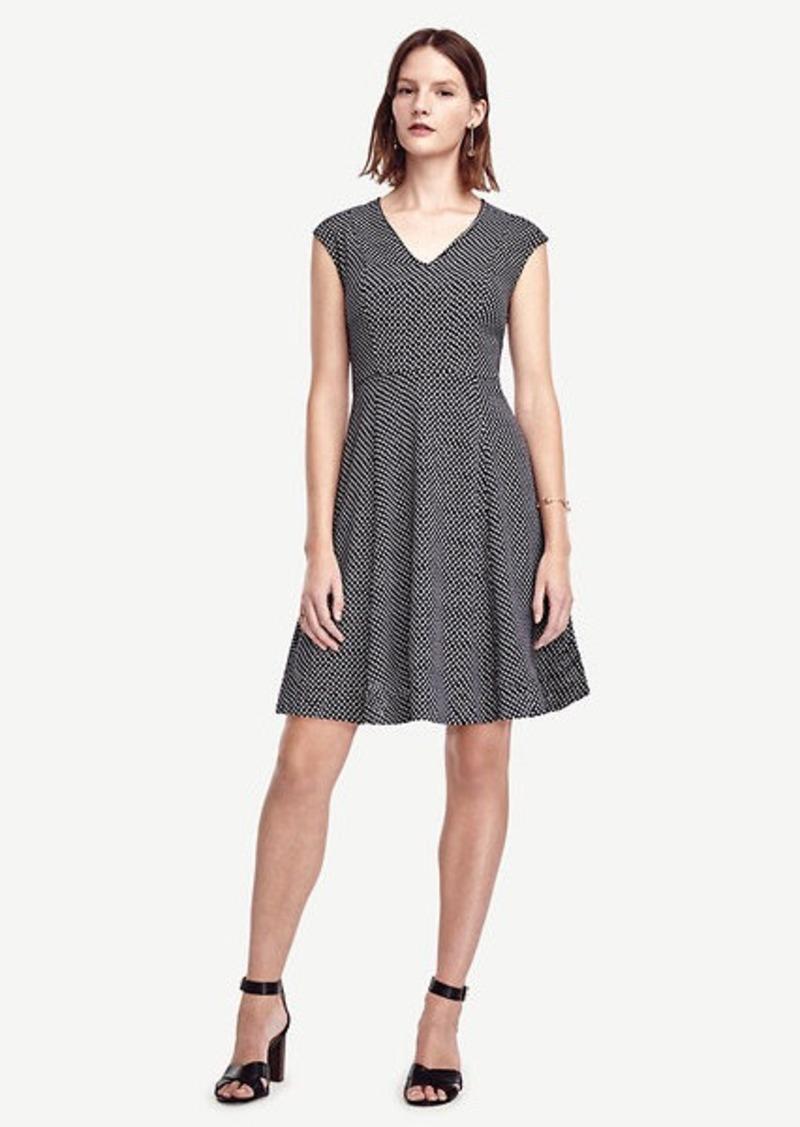 Ann Taylor Dot Crepe V-Neck Flare Dress