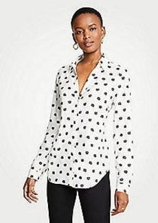 Ann Taylor Dot Floral Essential Button Down Blouse
