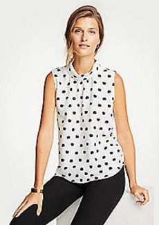 Ann Taylor Dot Floral Sleeveless Mock Neck Top