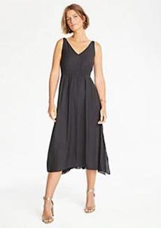 Ann Taylor Dot Jacquard Smocked Midi Dress