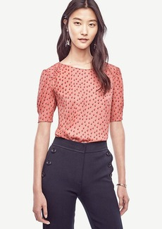 Dot Shirred Short Sleeve Blouse