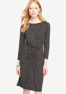 Dot Wave Tie Front Dress