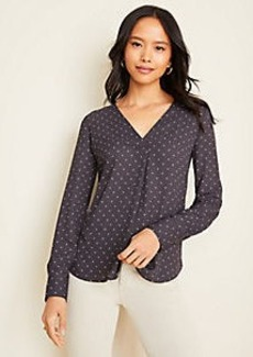 Ann Taylor Dotted Mixed Media Pleat Front Top
