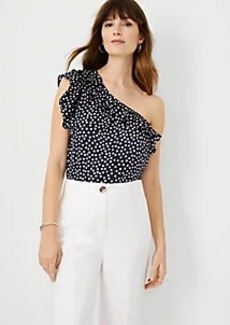 Ann Taylor Dotted One Shoulder Ruffle Top