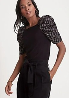 Ann Taylor Dotted Puff Sleeve Top