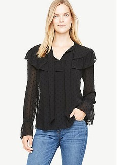 Dotted Ruffle Tie Neck Blouse