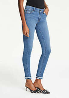 Ann Taylor Frayed Performance Skinny Ankle Jeans in Bright Mid Indigo Wash