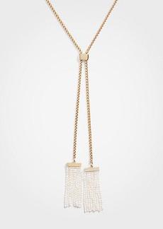 Ann Taylor Double Pearlized Tassel Pendant Necklace