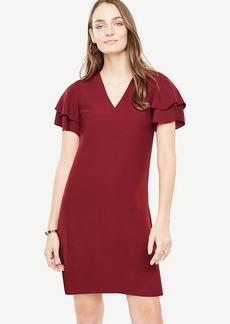 Double Ruffle Sleeve Shift Dress