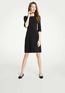 Ann Taylor Doubleweave Boatneck Flare Dress